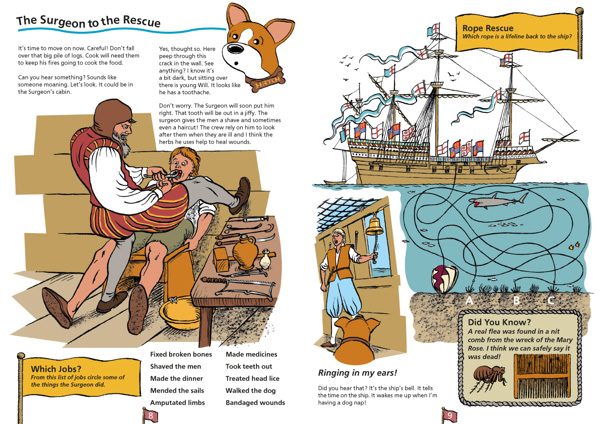 Research, illustration, book design and children's activities for the Mary Rose Museum created for Colour Heroes publishers