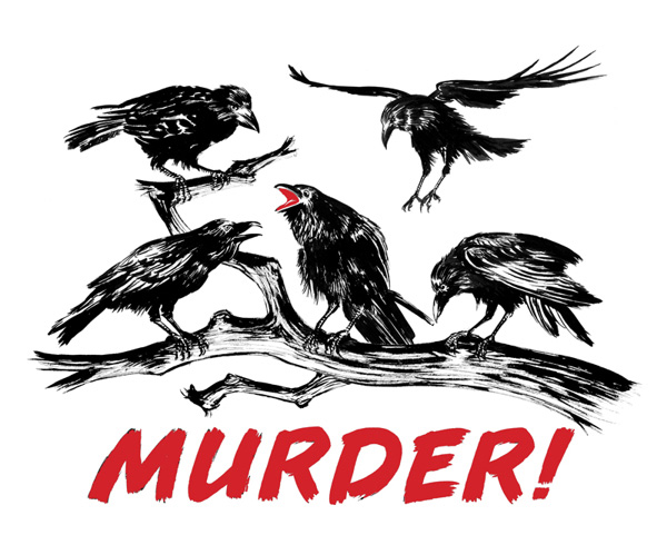 Murder of crows dry brush painting