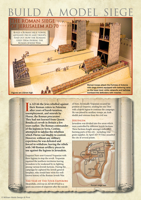Build a Roman siege cardboard kit, personal project incl. research and content writing, design and illustration