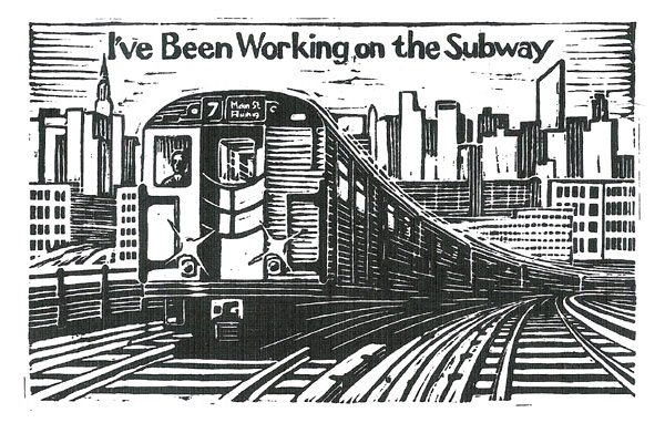 Book cover illustration and design for the New York Transit Authority - linocut print