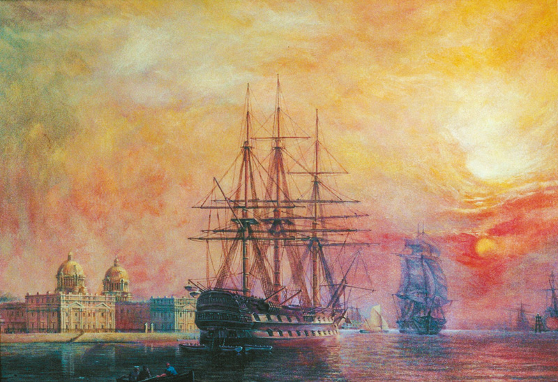 19th Century warship 2nd Rate at Greenwich - acrylic on canvas