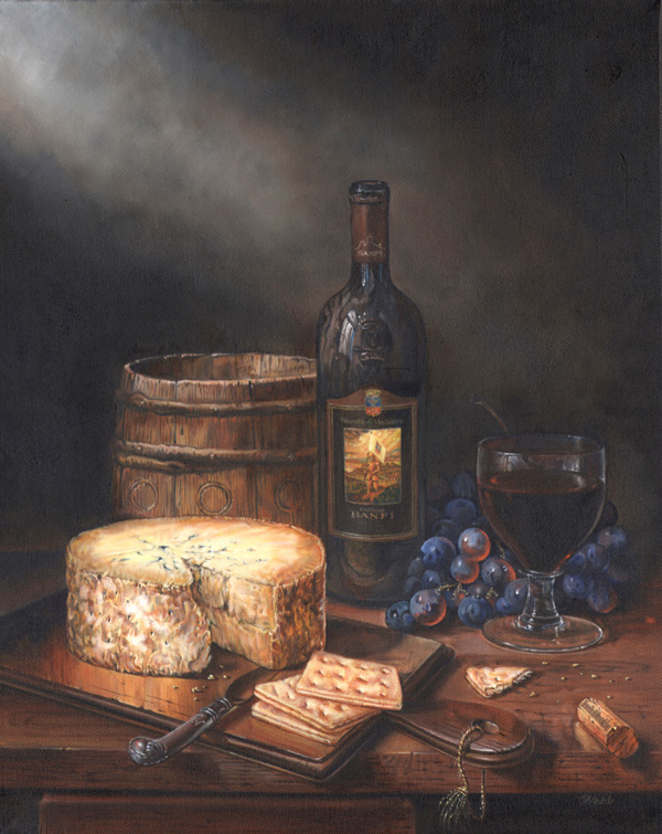 Painting for Banfi Wines, one of three commissioned to replace original paintings with older bottle styles - oil on canvas