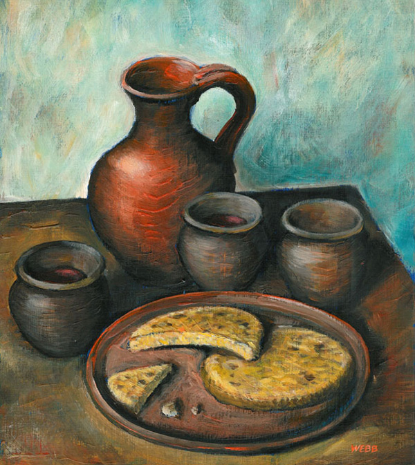 Bread and wine for an article in Christianity magazine - acrylic painting on paper
