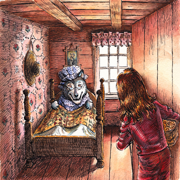 Cartoon illustrations for a children's audio book 'Little Red Riding Pants' - pen and ink, watercolour