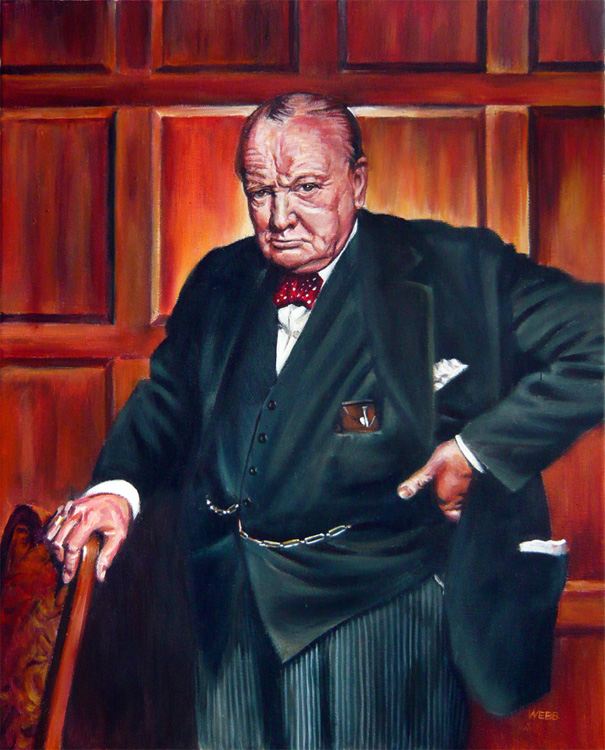 Sir Winston Churchill, private commission - acrylic painting on canvas