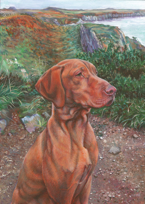 Dog portrait, private commission - acrylic painting on canvas