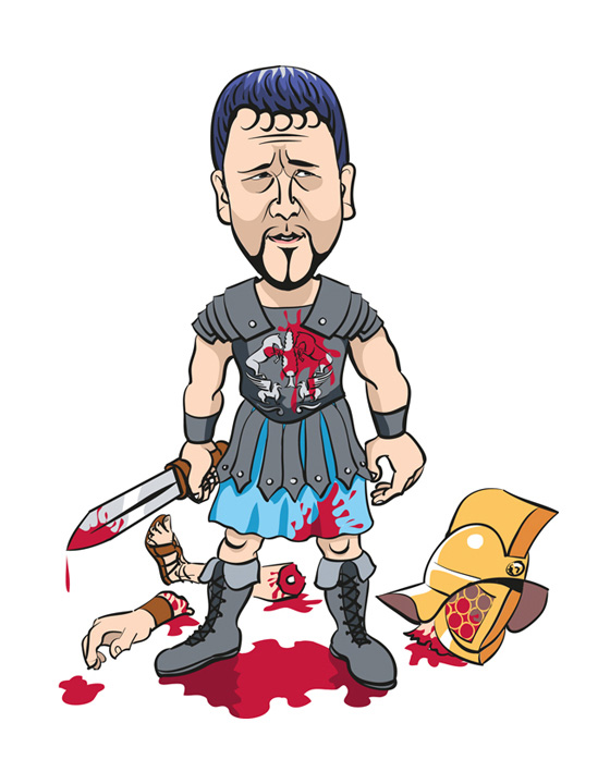 Cartoon portrait of Russell Crowe as 'Gladiator', a personal project created in Adobe Illustrator with a Wacom tablet