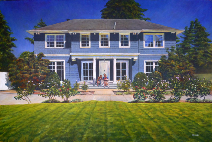 Painting of house with family portrait - acrylic painting on canvas