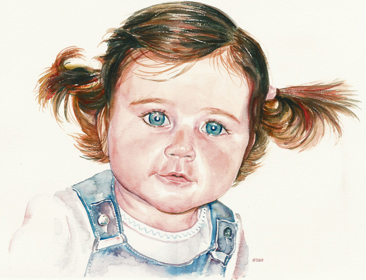 Naomi, aged 2 - watercolour painting on paper