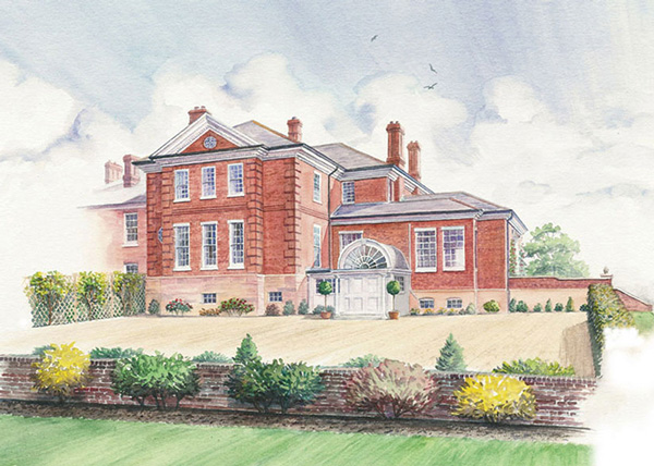 Watercolour illustration of property development for Savills Estate Agents