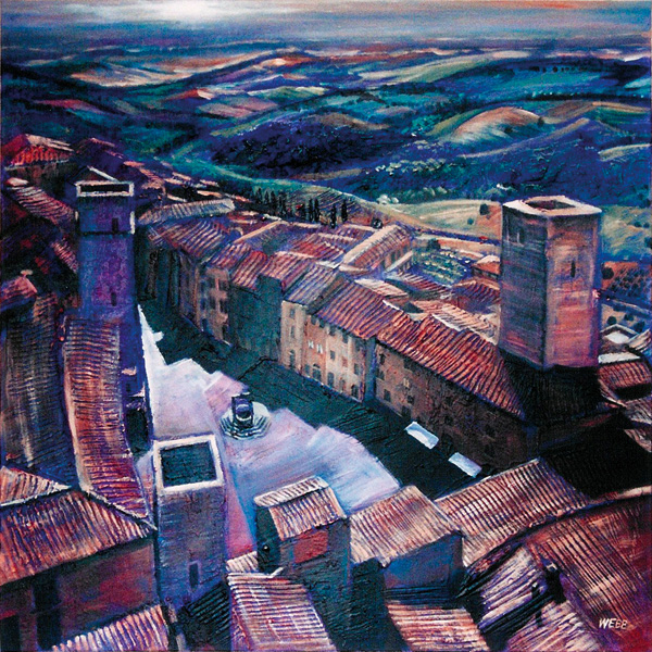 'San Gimignano', private commission - acrylic painting and mixed media on canvas