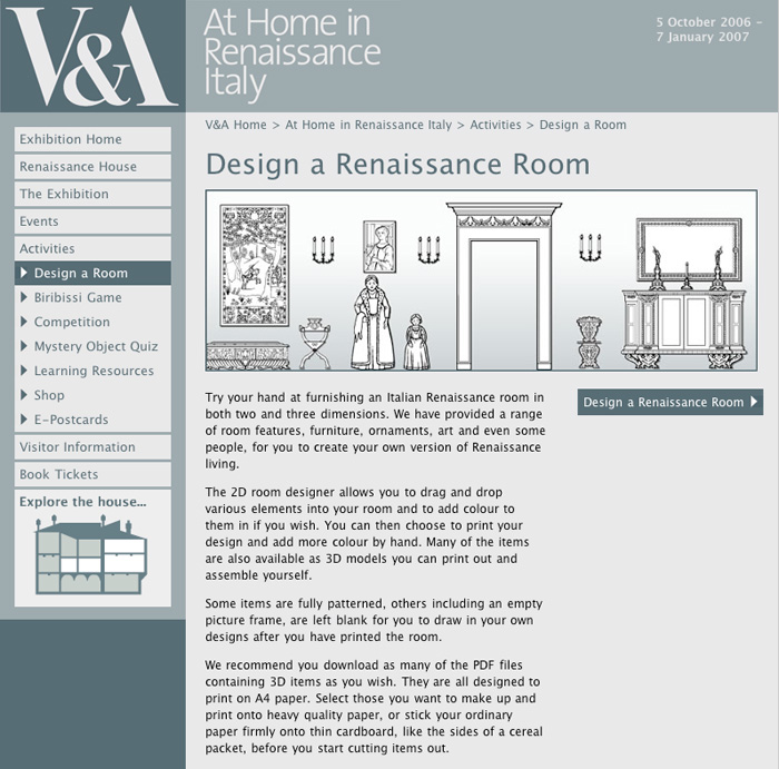 Moveable elements for an interactive game created for the V and A Museum