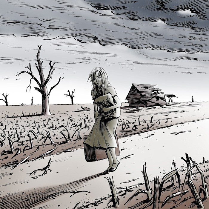 Graphic novel style cartoon created for a writing prompt in pen and ink and Photoshop