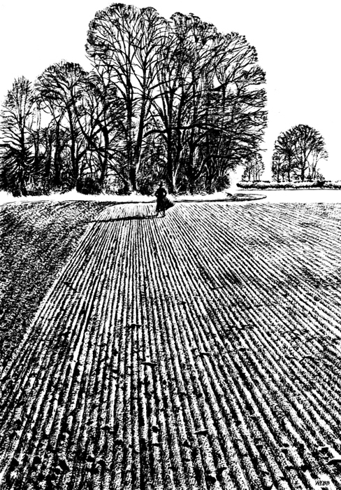 Sinister figure in ploughed field dry brush painting