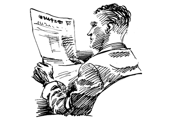 Dip pen and ink sketch of a man reading a newspaper