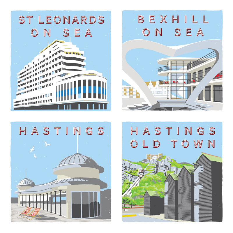 Seaside illustrations created in a retro style using a Wacom tablet to raise money for a local charity