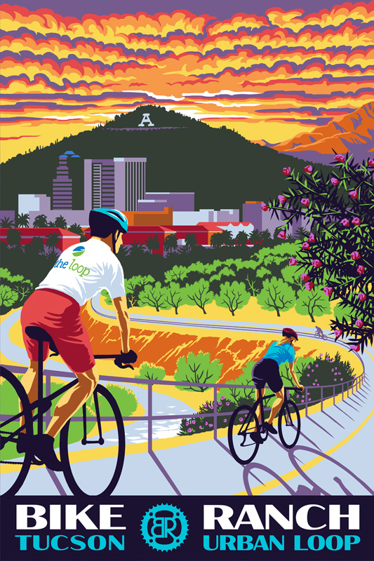 Bike ranch poster in retro flat-colour style created with a Wacom tablet in Adobe Photoshop