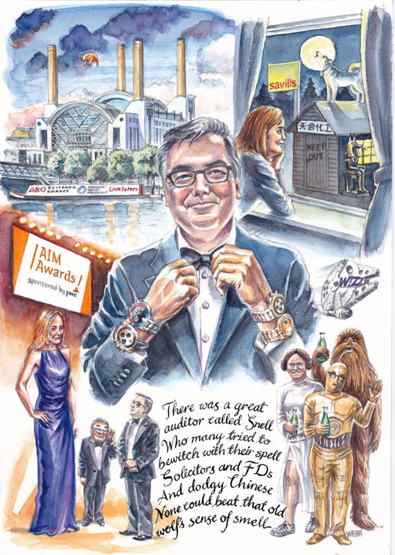 Retirement event cartoon for PWC in pen and ink and watercolour, with hand calligraphy