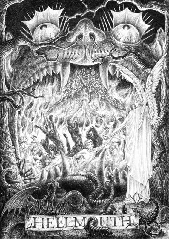 Illustration inspired by a 15th century book of hours featuring the damned burning in a hell mouth