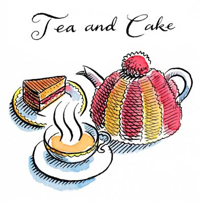 Tea and Cake illustration for a greetings card drawn with a dip pen and ink, with watercolours and hand calligraphy