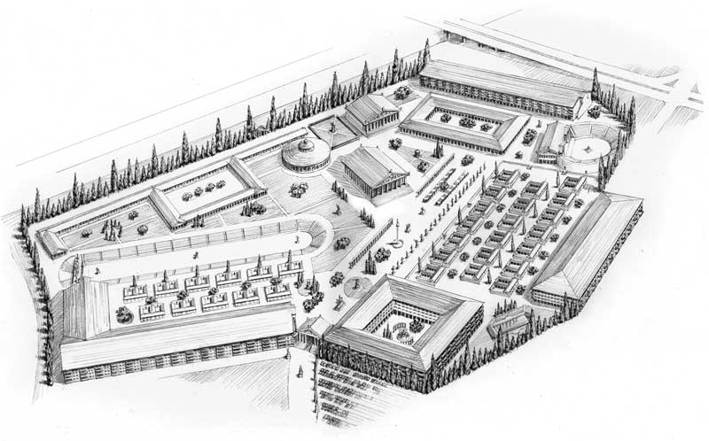 Pencil architectural illustration of proposed Ancient Greek theme park