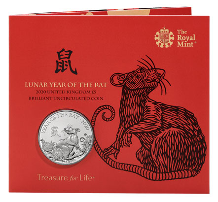 Illustration for the Royal Mint Chinese Lunar Year of the Rat 2020 coin packaging - linocut