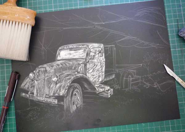 Rough drawing of image on scraperboard
