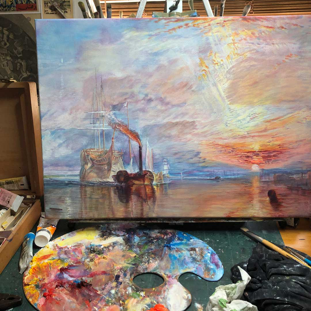 Copy in oil on canvas of Turner's The Fighting Temeraire